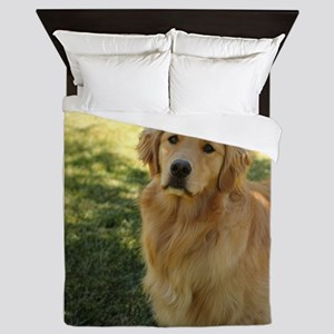 golden retriever n Queen Duvet
