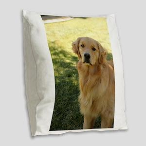 golden retriever n Burlap Throw Pillow