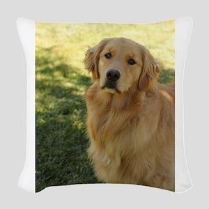golden retriever n Woven Throw Pillow