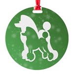 Poodle Silhouette Round Ornament