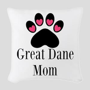 Great Dane Mom Paw Print Woven Throw Pillow