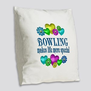 Bowling More Special Burlap Throw Pillow