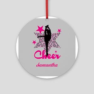 Pink Cheerleader Round Ornament
