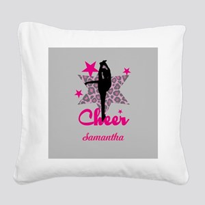 Pink Cheerleader Square Canvas Pillow
