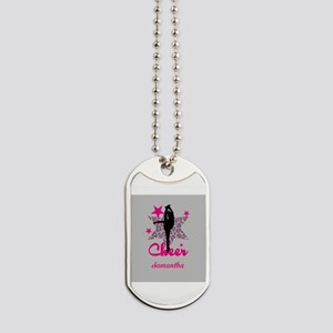 Pink Cheerleader Dog Tags