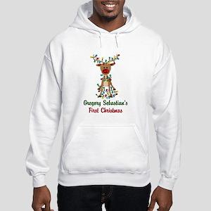 Adorable Reindeer CUSTOM Babys First Christmas Hoo