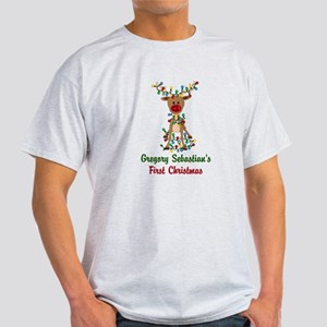 Adorable Reindeer CUSTOM Babys First Christmas T-S