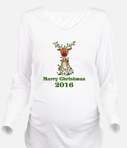 CUSTOM Adorable Reindeer Long Sleeve Maternity T-S