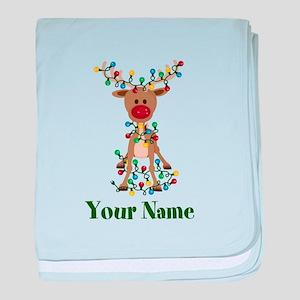 Adorable Reindeer CUSTOM Baby Name baby blanket