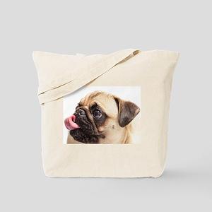 Pug blowing a raspberry Tote Bag