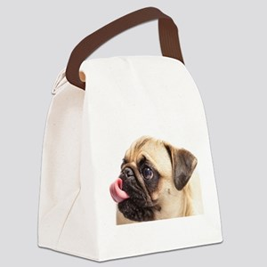 Pug blowing a raspberry Canvas Lunch Bag