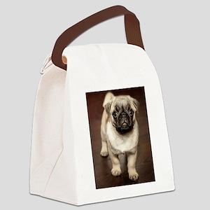 Curious Pug Puppy Canvas Lunch Bag