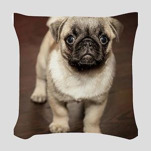 Curious Pug Puppy Woven Throw Pillow