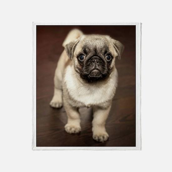 Curious Pug Puppy Throw Blanket