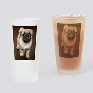 Curious Pug Puppy Drinking Glass