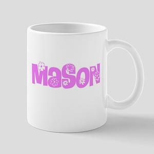 Mason Pink Flower Design Mugs