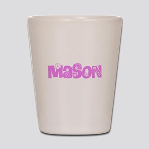 Mason Pink Flower Design Shot Glass