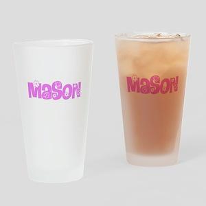 Mason Pink Flower Design Drinking Glass