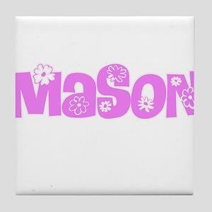 Mason Pink Flower Design Tile Coaster
