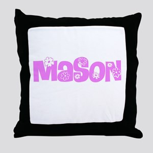 Mason Pink Flower Design Throw Pillow