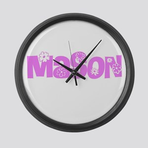 Mason Pink Flower Design Large Wall Clock
