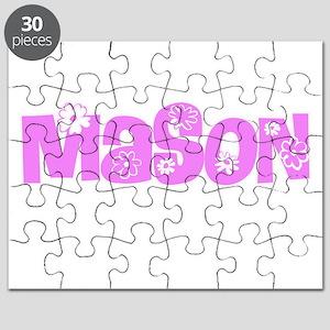 Mason Pink Flower Design Puzzle