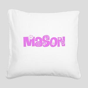 Mason Pink Flower Design Square Canvas Pillow