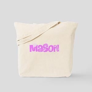 Mason Pink Flower Design Tote Bag