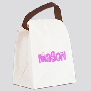 Mason Pink Flower Design Canvas Lunch Bag