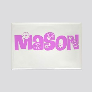 Mason Pink Flower Design Magnets
