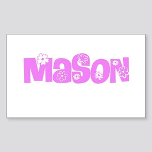 Mason Pink Flower Design Sticker