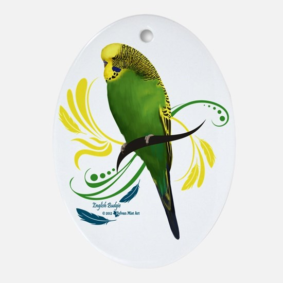 English Budgie Oval Ornament