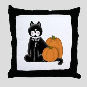 Black Cat and Pumpkins Throw Pillow