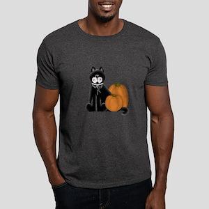 Black Cat and Pumpkins Dark T-Shirt