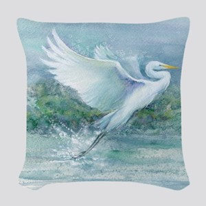 flighted Egret Woven Throw Pillow