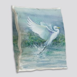 flighted Egret Burlap Throw Pillow