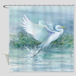 flighted Egret Shower Curtain