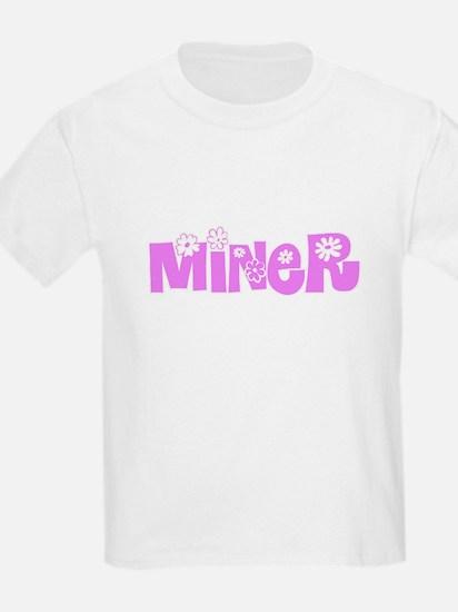 Miner Pink Flower Design T-Shirt