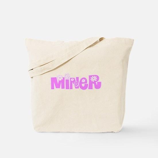 Miner Pink Flower Design Tote Bag