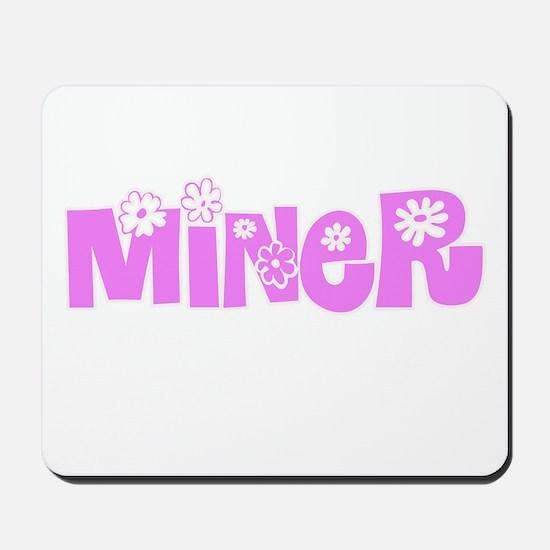 Miner Pink Flower Design Mousepad