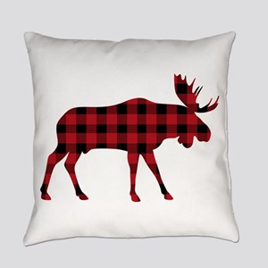 Plaid Moose Animal Silhouette Everyday Pillow