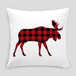 Plaid Moose Animal Silhouette Everyday Pillow