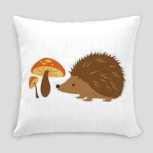 Hedgehog with Mushrooms Everyday Pillow