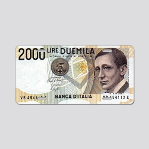 2000 Lire DUEMILA Aluminum License Plate