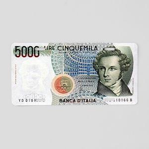 5000 Lire Cinquemila Aluminum License Plate