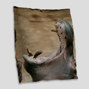 Hippo001 Burlap Throw Pillow