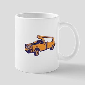 Cherry Picker Mobile Lift Truck Woodcut Mugs