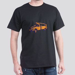 Cherry Picker Mobile Lift Truck Woodcut T-Shirt