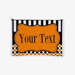 Personalizable Orange and Black Makeup Bag