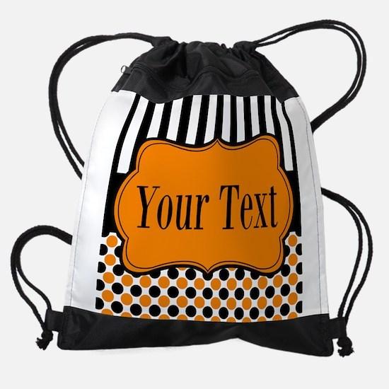 Personalizable Orange and Black Drawstring Bag
